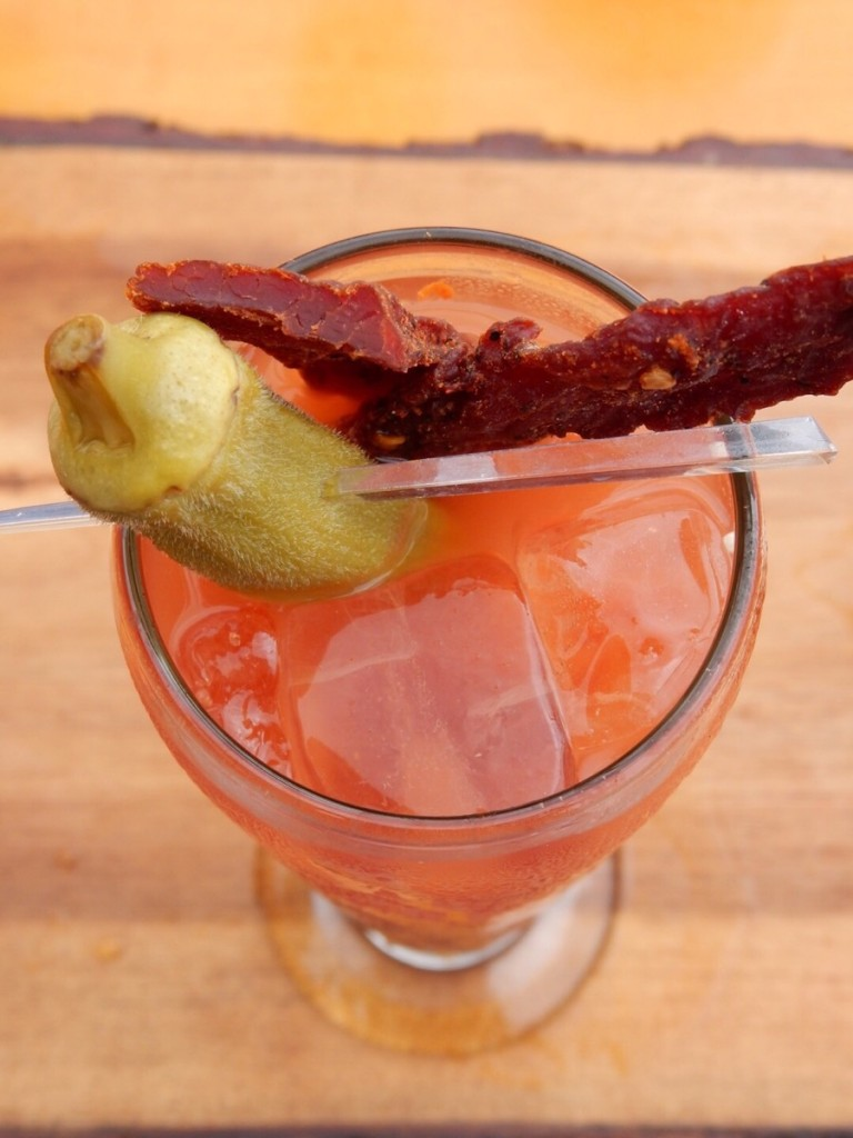 bloody mary with spicy beef jerky